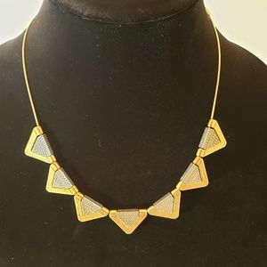 MADEWELL 2 Tone Metal Embossed Aztec Necklace EUC